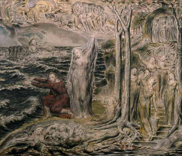 The Sea of Time and Space, 1821.Pen and ink and watercolour on paper (Arlington Court, National Trust)
